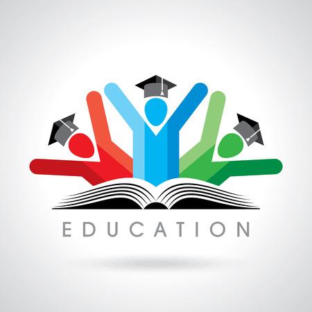 Foto de happy students with pencil icon. educational symbol - Imagen libre de derechos