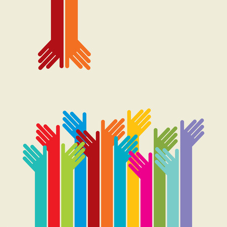Illustration pour Teamwork symbol. Multicolored hands - image libre de droit