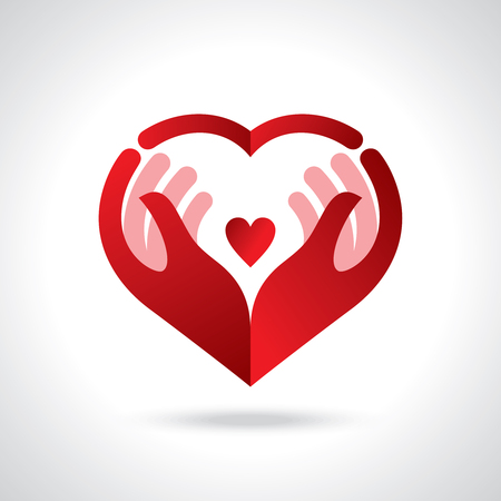 Illustration pour Icon of kindness and charity, Hands and heart. - image libre de droit