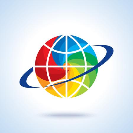 Ilustración de abstract global logo with modern ring sphere infinity synergy vector logo design - Imagen libre de derechos