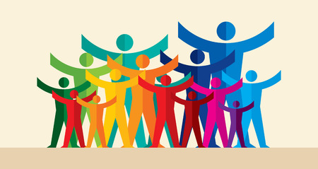 Illustration pour Teamwork People, Holding hands. Design for teamwork concept illustration - image libre de droit