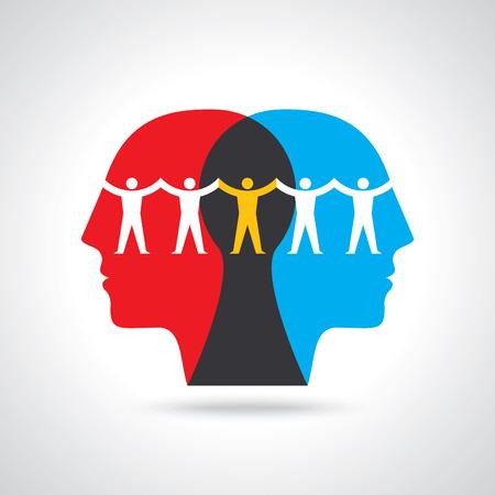 Teamwork People Thinking, Holding hands. Design for teamwork concept illustration