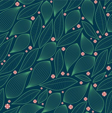 Illustration for Abstract Nature Pattern with plants, flowers. Endless pattern can be used for wallpaper, pattern fills, web page background, surface textures.Retro wallpaper, background, fabric and interior design usage - Royalty Free Image