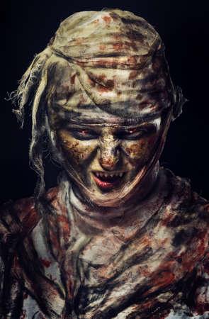 portrait of scary bad mummy at night
