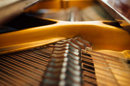 Photo for the internal parts of the grand piano strings - Royalty Free Image