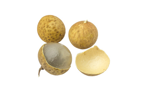 Photo pour fresh longan (Dimocarpus Longan) and Peel show the white meat with black seed isolated on white background - image libre de droit