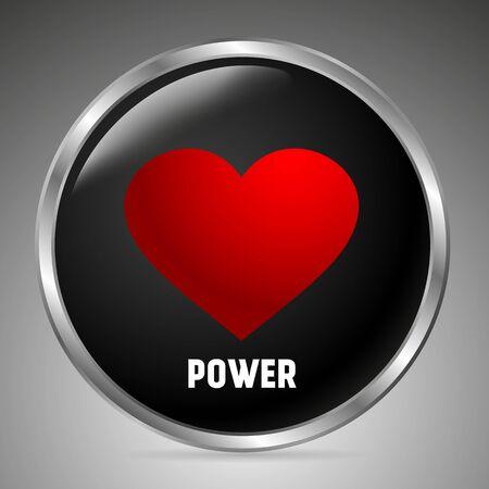 Illustration pour Big black button with a red heart, the inscription power. 3D style. Vector illustration - image libre de droit