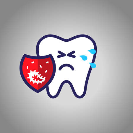 Illustration pour tooth crying for pain, dentistry, oral hygiene. red shield with caries symbol, microbes. The concept of harm. - image libre de droit