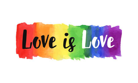 Illustration pour Love is love hand lettering written on a watercolor rainbow spectrum pride flag, isolated on white. LGBT rights concept. Modern poster, cards design - image libre de droit