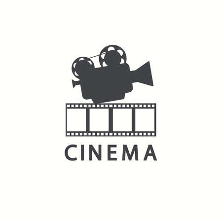 Illustration for Cinema icon. Vector movie emblem template, isolated on white background - Royalty Free Image