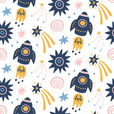 Illustration pour Space Galaxy childish seamless pattern with space ships, stars, cosmic elements. Creative scandinavian nursery background for kids apparel, textile, fabric, wrapping paper, wallpaper. Nordic style. - image libre de droit
