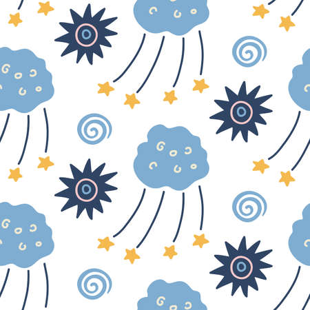 Illustration pour Hand drawn outer space seamless pattern - image libre de droit