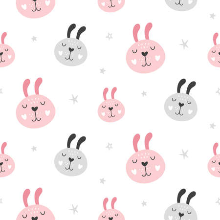 Illustration pour Nursery Childish Seamless Pattern Background With Rabbit Faces. Hand Drawn Scandinavian Style Trendy Textile, Wallpaper, Wrapping Paper Design. Vector illustration - image libre de droit