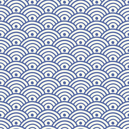 Ilustración de Japanese, Chinese traditional asian blue wave seamless pattern. Oriental ornament background. Vector illustration - Imagen libre de derechos