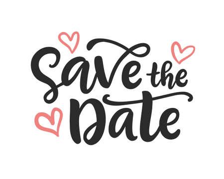 Illustration pour Save the date hand written lettering - image libre de droit