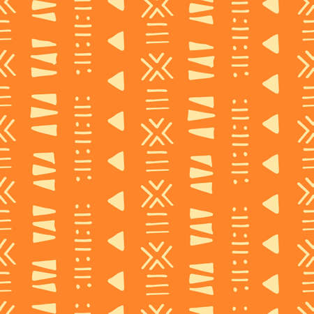 Illustration pour Tribal creative vector seamless pattern. Ethnic abstract geometric handmade african, aztec ornament for textile and surface design, package, wallpaper, web page backdrop, wrapping paper, - image libre de droit