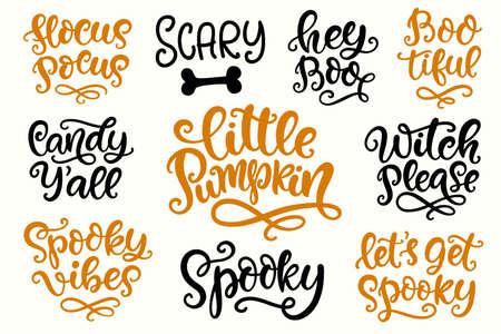 Illustration pour Halloween Party Lettering set. Hand written Ink Modern Calligraphy - image libre de droit