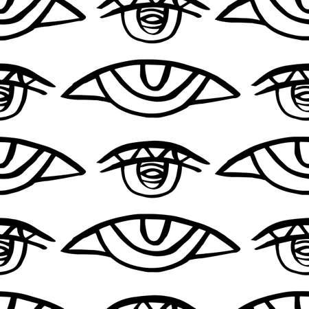 Illustration pour Vector hand drawn eye doodles seamless pattern - image libre de droit