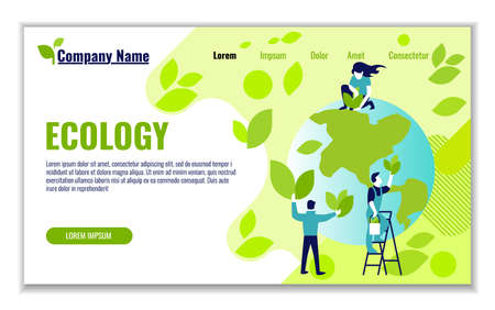 Illustration pour Website template of ecology and generation and saving green energy for graphic and web design, flat design vector illustration  - image libre de droit