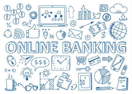 Illustration for Hand drawn design vector illustration, set of online banking icons in doodles style, for graphic and web design - Royalty Free Image