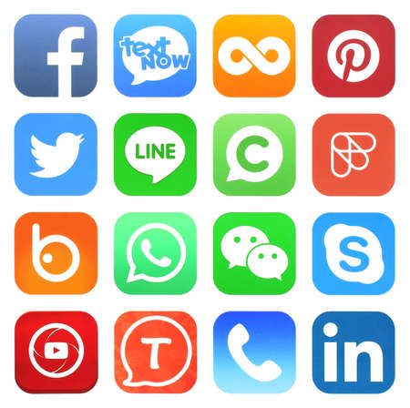 Photo pour Kiev, Ukraine - may 03, 2019: Facebook, Instagram and Whatsapp logo. Social network sign printed on paper - image libre de droit