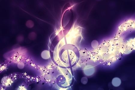 Violin key, music note symbol. Surreal music background