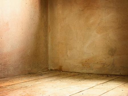 Corner of old dirty concrete grunge interior