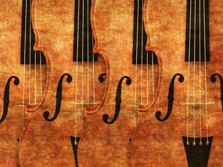 Grunge illustration of 3d violinds in a row background.