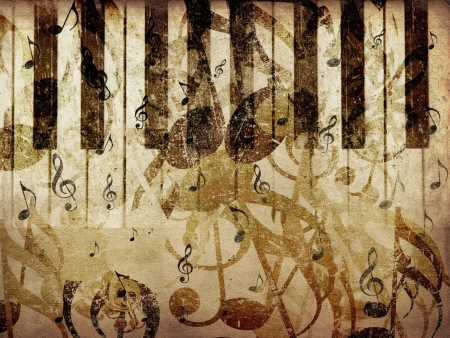 Grunge illustration of vintage music concept background with piano.
