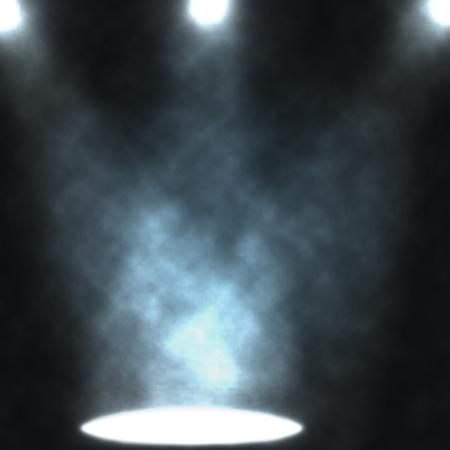 Blue light beams from projectors, illuminating smoke background.