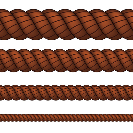 Four brown ropes in different sizes on white background.