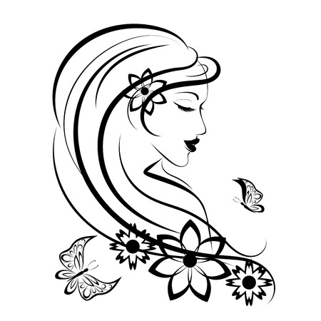 Illustration for Stylized woman with butterfly and flowers, linear illustration - Royalty Free Image