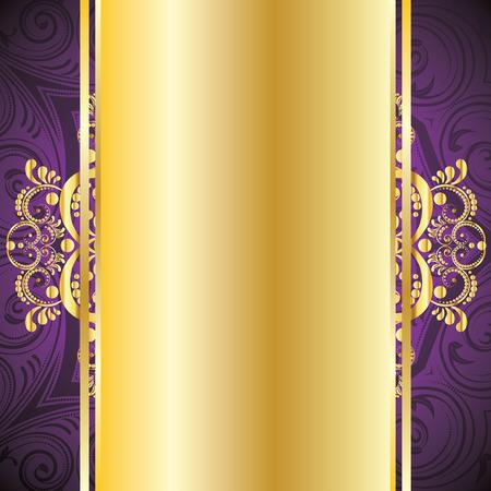 Illustration pour Vintage pruple background with decorative gold ribbon and floral ornament. - image libre de droit