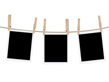 Illustration pour Retro photo frames hung on a rope with wooden clothespins. - image libre de droit