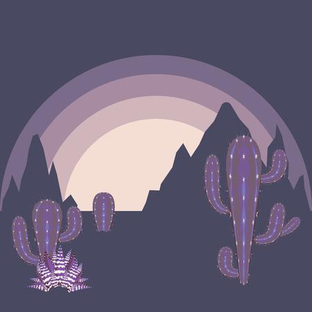 Illustration pour Sunset in the desert landscape with cacti and distant rocks silhouettes. - image libre de droit