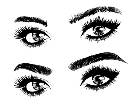 Illustration pour Female eyes with long eyelashes and brows before and after correction in black and white. - image libre de droit