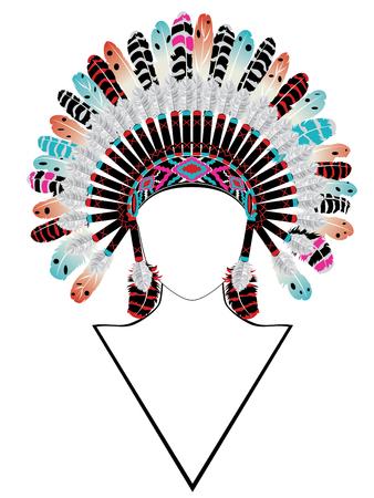 Illustration pour Native american headdress with feathers, war bonnet, front view. - image libre de droit
