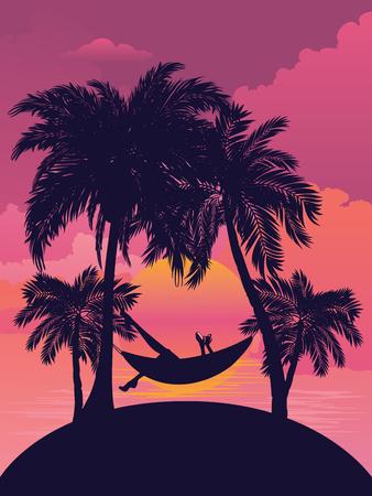 Illustration pour Palm trees on tropical island landscape, sunrise or sunset background. - image libre de droit