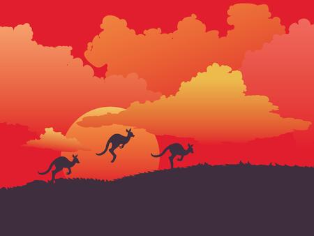 Illustration pour Abstract landscape design with cute kangaroo illustration. - image libre de droit