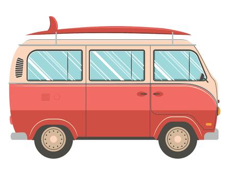 Photo pour Illustration of retro traveling van design on white background. - image libre de droit