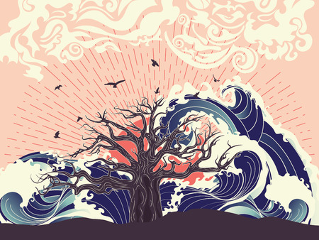 Illustration pour Stylized tree and stormy ocean or sea at sunset, art poster design. - image libre de droit