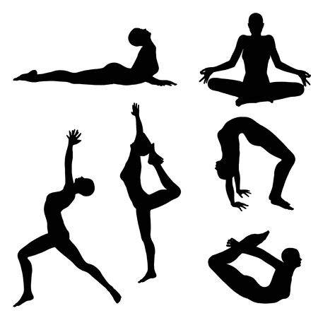 Illustration for Black female silhouettes in yoga poses on white background. - Royalty Free Image
