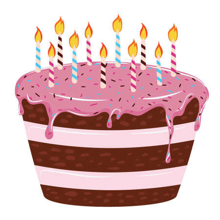 Illustration for Tasty birthday chocolate cake with pink icing and candles. - Royalty Free Image