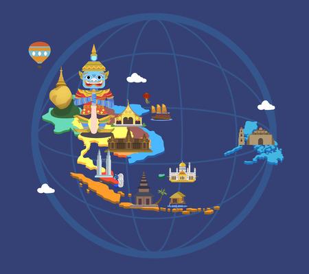 Illustration pour Map with tourist attractions - image libre de droit
