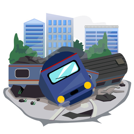 Illustration pour train accident and background building. - image libre de droit