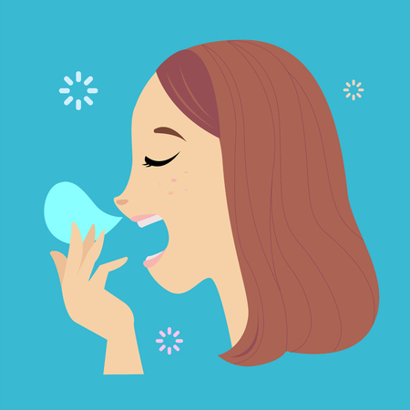 Illustration pour Vector of face woman yawning and hand cover mouth. - image libre de droit