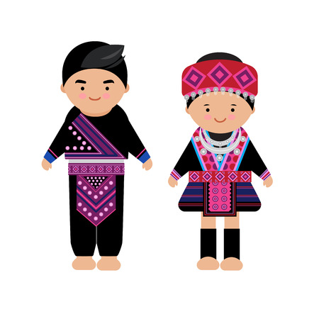 Illustration pour Vector of hilltribe woman and man dress, Hmong, northern tribe,  of thailand - image libre de droit