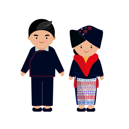 Illustration pour Vector of hilltribe woman and man dress, Yao, northern tribe,  of thailand and chinese. - image libre de droit
