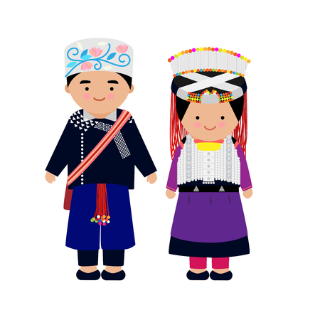 Illustration pour Vector of hilltribe woman and man dress, Lisu, northern tribe,  of thailand. - image libre de droit