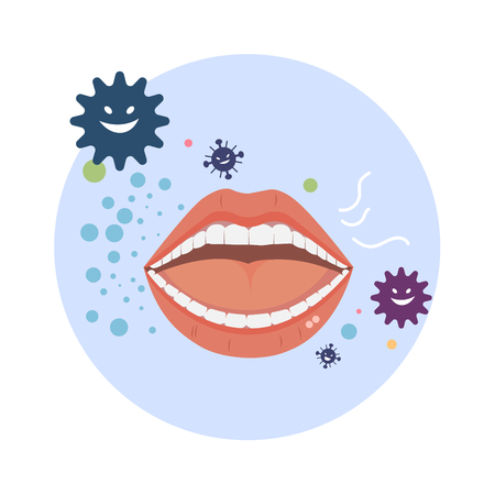 Illustration pour Bad breath vector with bacteria on white background. - image libre de droit